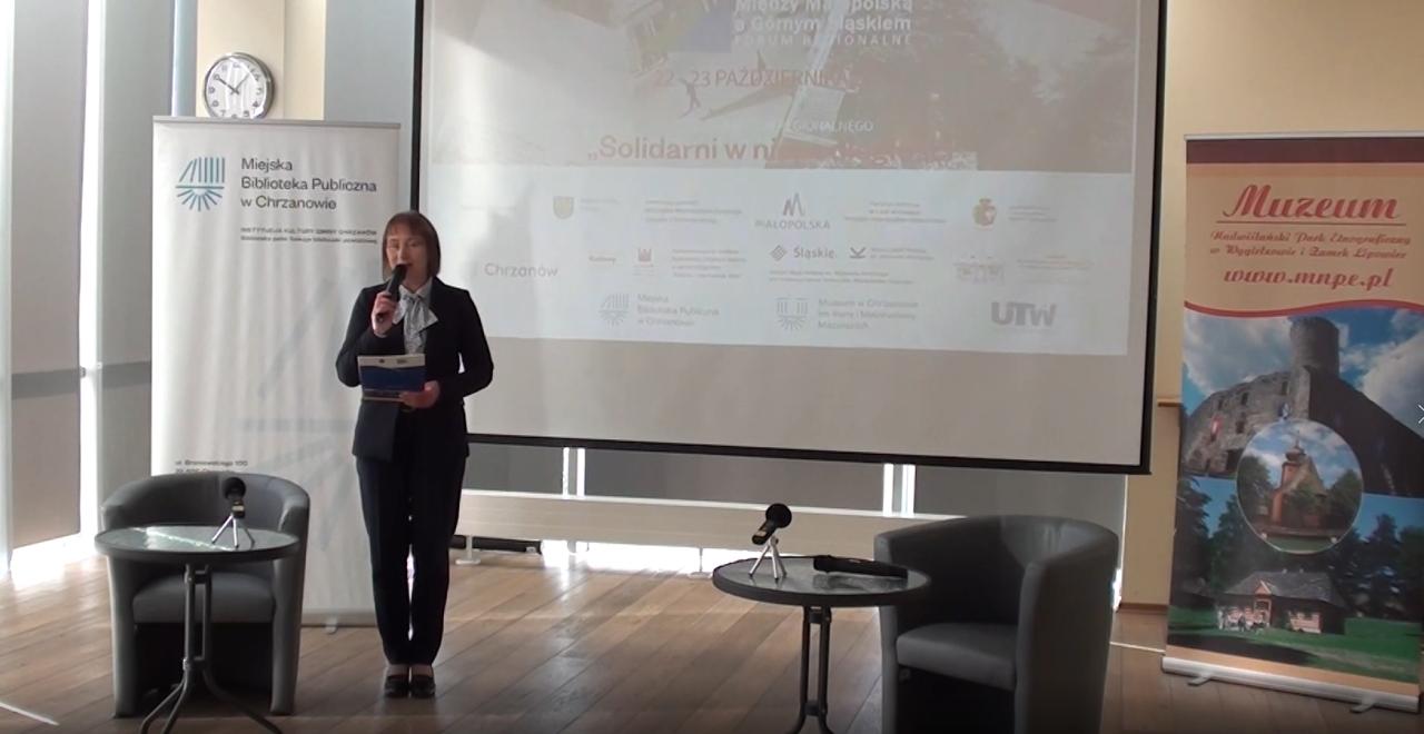 """Kadr z filmowej relacji z forum regionalnego Między Małopolską a Górnym Śląskiem """"Solidarni w niepodległości"""", które odbyło się 22 października 2020 roku"""