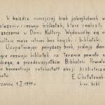 Wpis do księgi E. Chełstowskiego, tekst.