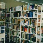 Fotografia przedstawia regały z książkami.