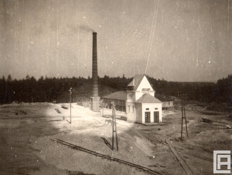 Fotografia przedstawia teren zakładu wydobywczego. Widoczny komin i dwa białe budynki, z tyłu ściana lasu.
