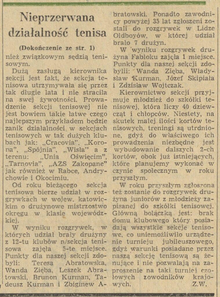 Skan artykułu archiwalnego dot. rozgrywek tenisowych.
