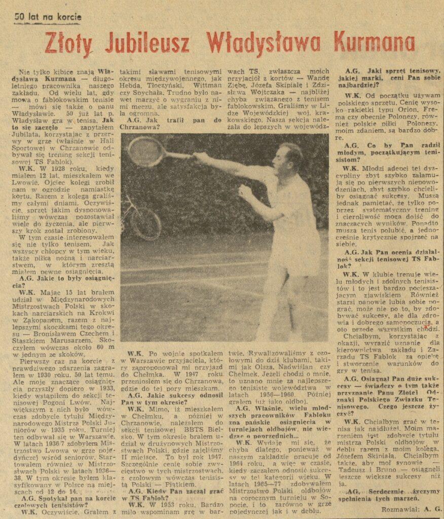 Skan artykułu archiwalnego dot. rozgrywek tenisowych. Zawiera czarno-białą fotografie zawodnika.