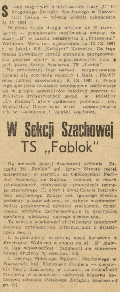 Fotografia przedstawia skan artykułu archiwalnego dot. rozgrywek szachowych.